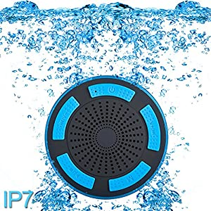 Premium Quality Shower Speaker, IP67 Waterproof Portable Wireless Bluetooth 4.0 Speakers with Super Bass HD Sound and Breathing LED Light for Pool Beach Bath Boat Sauna or Spa (Blue)