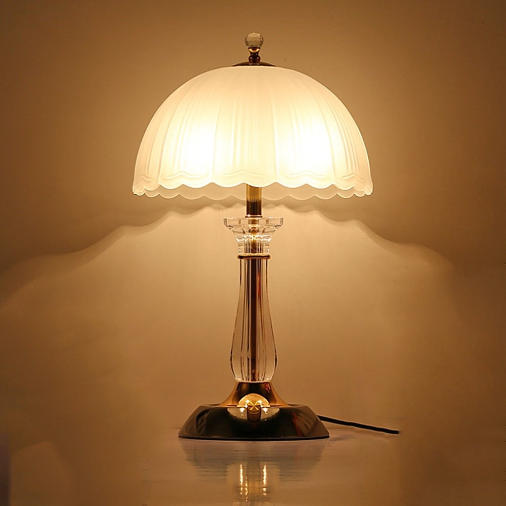 wshfor Lámpara de cabecera, lámpara de mesa de moderno cristal de lujo lámpara de cristal de estilo moderno de simple de la manera creativa, luces de la sala de estar del dormitorio, lámpara de la sala de estudio blanca a93946