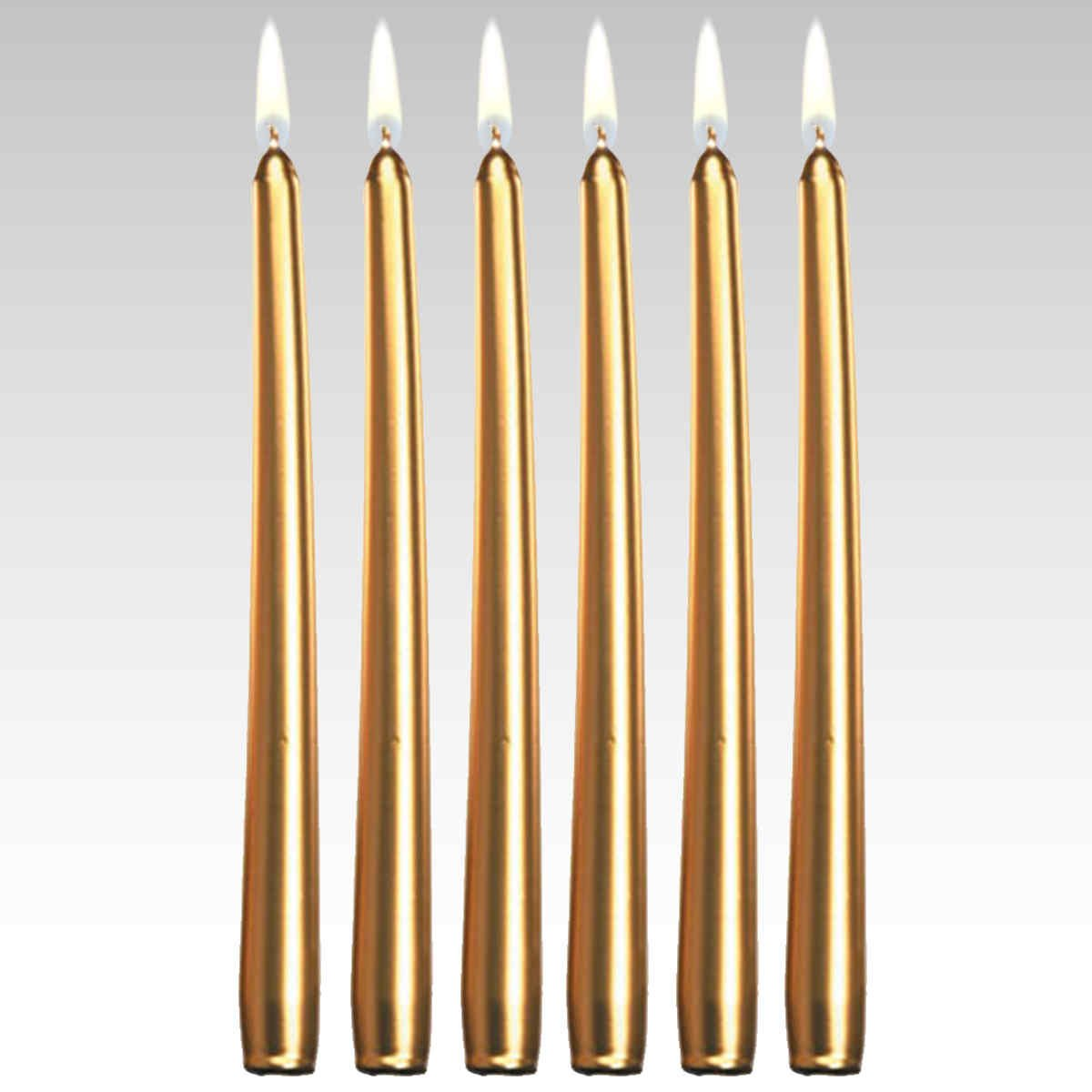 Candles4Less - 12 Inch Metallic Gold Taper Candles (144 Pieces/ Bulk), Gold Taper Candles Dripless Unscented with Lead Free Cotton Wicks Made in USA