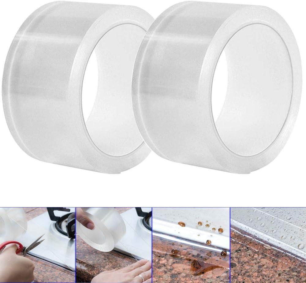Gebildet 3m ×5cm PVC Bañera y Pared Tira de Sellado, Acrílico Cinta Adhesiva de Pared, Impermeable Baño Sellador Cinta, para Lavabo del Fregadero Cocina (Paquete de 2, Transparente)
