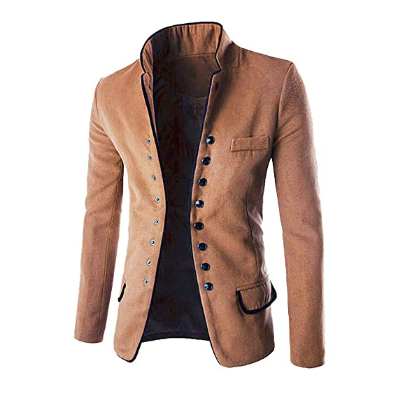 1eb38ac47d8f0 Manteau D Hiver,Subfamily Homme Hiver Manteaux Slim Long Trench Buttons  Jacket Parka Manche Longue Jacket Casual Veste de Costume  Amazon.fr   Vêtements et ...