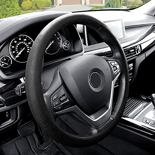 FH Group FH3001BLACK Black Steering Wheel Cover (Silicone Snake Pattern Massaging grip in Color-Fit Most Car Truck Suv or Van) 1999 Audi A4 Steering