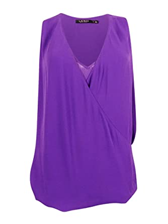 Lauren Ralph Lauren Womens Faux Surplice Sleeveless Blouse Purple M at  Amazon Women s Clothing store
