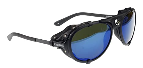 Amazon.com: Cébé Lhotse Sunglass, Matt Black, Black Leather ...