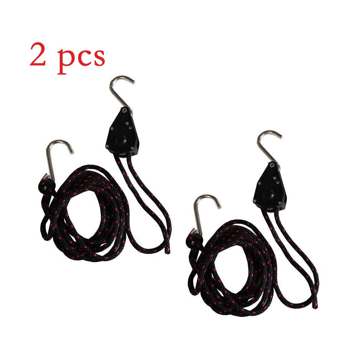 TPSKY 2 Pieces/Set 9.35ft Marine Kayak Canoe Fishing Boat Bow Stern Rope Tie Down Strap with Hooks Pulley Ratchets Quick Draw