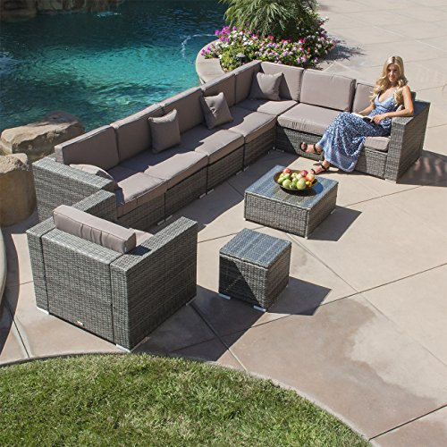 - Belleze Outdoor Patio Furniture Aluminum 10-Piece Sectional Sofa Set with Cushions + Table, Gray