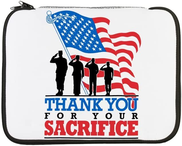 13 Inch Laptop Sleeve US Military Thanks for Your Sacrifice