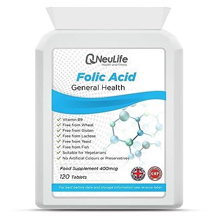 Ácido Fólico 400mcg - 120 Comprimidos - Neulife Salud y Fitness