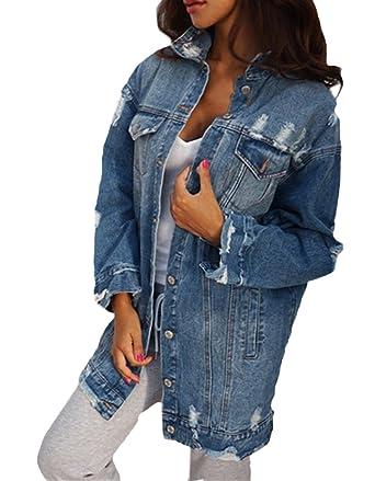 e7fa243313b7b Scothen Manteaux Base pour Femme Automne Hiver Jeans Veste Vintage Manches  Longues Loose Girls Jeans Manteau