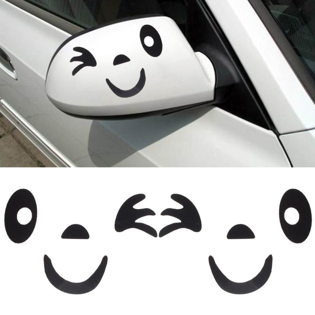 Stickers, Kolylong® Visage Sourire 3D Design Autocollant DéCoration Pour Voiture Side Mirror Vue ArrièRe ( Noir)