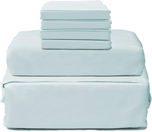 Bed Sheet Set King Size White 1800 Count Cotton Deep Pocket 6 Piece Hotel Lintex