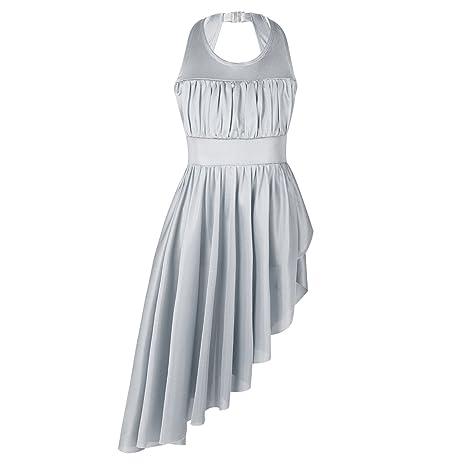 f76cf0af843c iiniim Kids Big Girls Asymmetric Cutout Back Skirted Lyrical Ballet Dress  Ballroom Dance Leotard Costume Grey