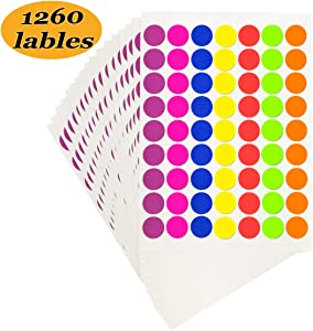 "Pack of 1260 1-inch Round Color Coding Labels Circle Dot Stickers,7 Bright Neon Colors,Print or Write 8.5"" x 11"" Sheet(20 Sheet)"