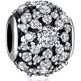 ANGELFLY 925 Sterling Silver Dazzling Snowflake Openwork Charms with Clear CZ fit Pandora Charms for Pandora Bracelets, Christmas Birthday Gifts for Women Wife Teen Girls Daughter