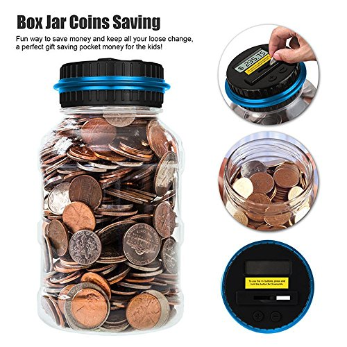 Digital Coin Bank Savings Jar With Lcd Display   Automatic Coin Counter All U S  Coins