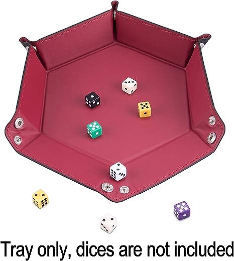 SIQUK 4 Pi/èces Plateau /à D/és en Cuir PU Plateau pour Donjons et Dragons DG Dice Ding et Autres Jeux de Table,4 Couleurs