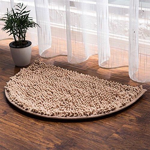 (Prime Leader Half Moon Chenille Microfiber Doormat Non-Slip Water-Absorbent Carpet Front Entrance Indoor Bath Mat Rug for Bedroom Bathroom Living Room, Camel,19.5