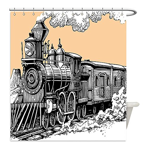 Wild West Costume Ideas Diy (Liguo88 Custom Waterproof Bathroom Shower Curtain Polyester Steam Engine Vintage Wooden Train on Rails Wild West Wagon in Countryside Drawing Effect Artsy Decor WXL Peach White Decorative bathroom)