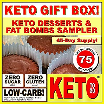 KETO BAKERY LOW CARB PIZZA & FAT BOMB HOLIDAY GIFT BOX ~ 75 Servings! GLUTEN FREE! NO SUGARS ADDED! HIGH FAT LOW CARB DESSERT MEALS, FAT BOMBS