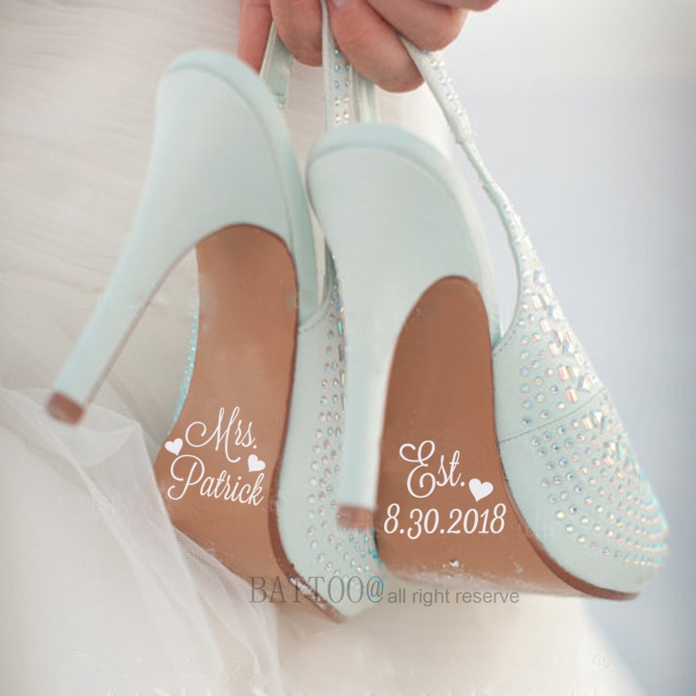 91d4c00243ee BATTOO Wedding Day Bride Shoes Decal Custom Wedding Shoe Decal Personalized  Name and Est Date Decal Heart Decor 1.5
