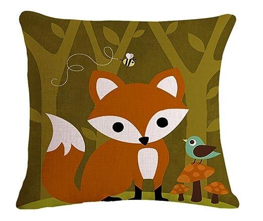 Cartoon Animal Fox bicicleta búho ardilla perro manta funda ...