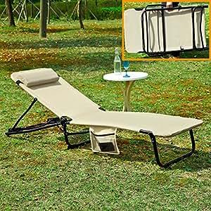 SoBuy® ogs27-mi, Plegable Textoline jardín Tumbona reclinable Silla, Silla portátil, Color Beige