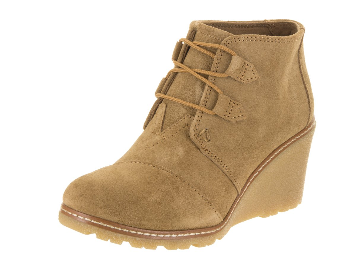 TOMS Desert Wedge Boot - Women's Toffee Suede/Faux Crepe Wedge, 8.0