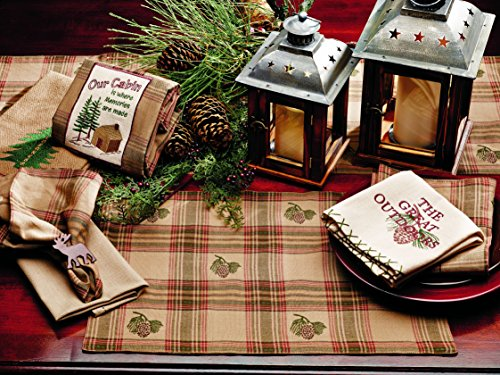 (Olivia's Heartland Pinecone Collection Tan Green & Red Plaid Table Placemat - Set of 4)