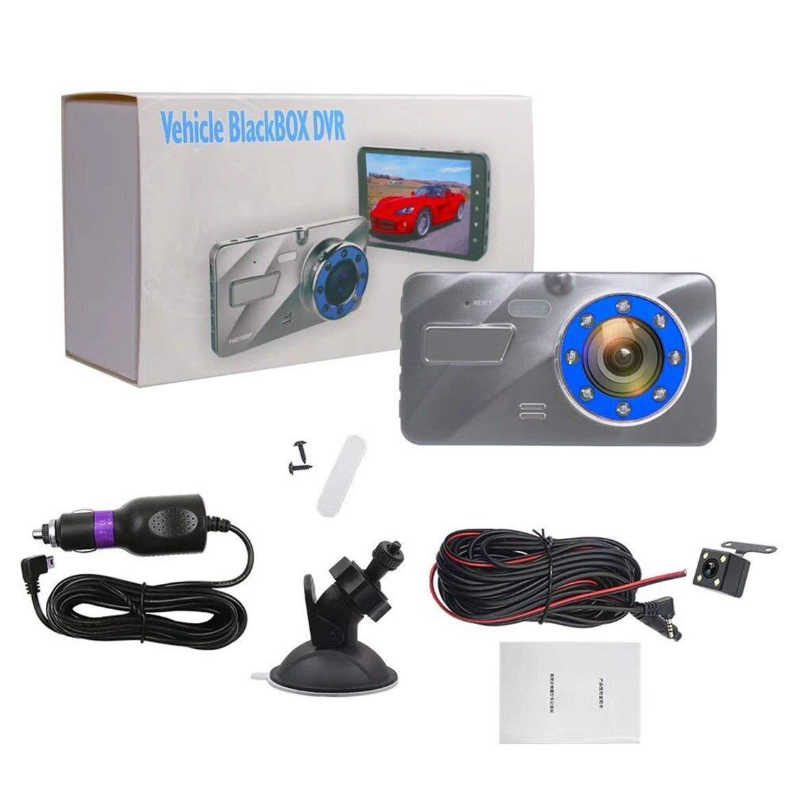 Funnyrunstore HD 170 Degree Rotary Traffic Recorder 1080P Detección de Velocidad Fija High Clarity Mirror Multi Direction Recording (Negro)
