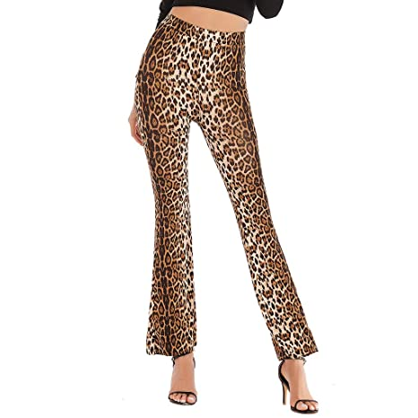 feinste Auswahl exklusives Sortiment gute Qualität Schlaghose Damen, Dasongff Leopardenmuster Hose High Waist ...