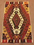 2.11x4.7 Feet Ethnic Handicraft Black White Orange Red Green Yellow Beige Blue Village Rug Kelim Rug Handmade Carpet Doormat Bathmat Nursery Rug Kid's Room Carpet.Code:KG795