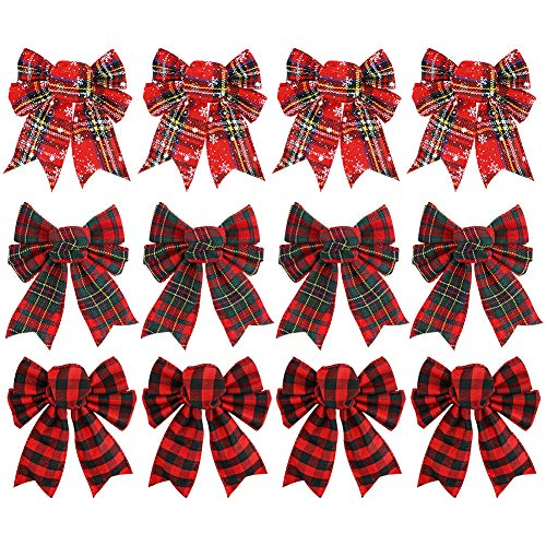 Johouse Red Buffalo Plaid Bows 12PCS Christmas Tree Bows Christmas Wreath Bow for Christmas Outdoor Decorations
