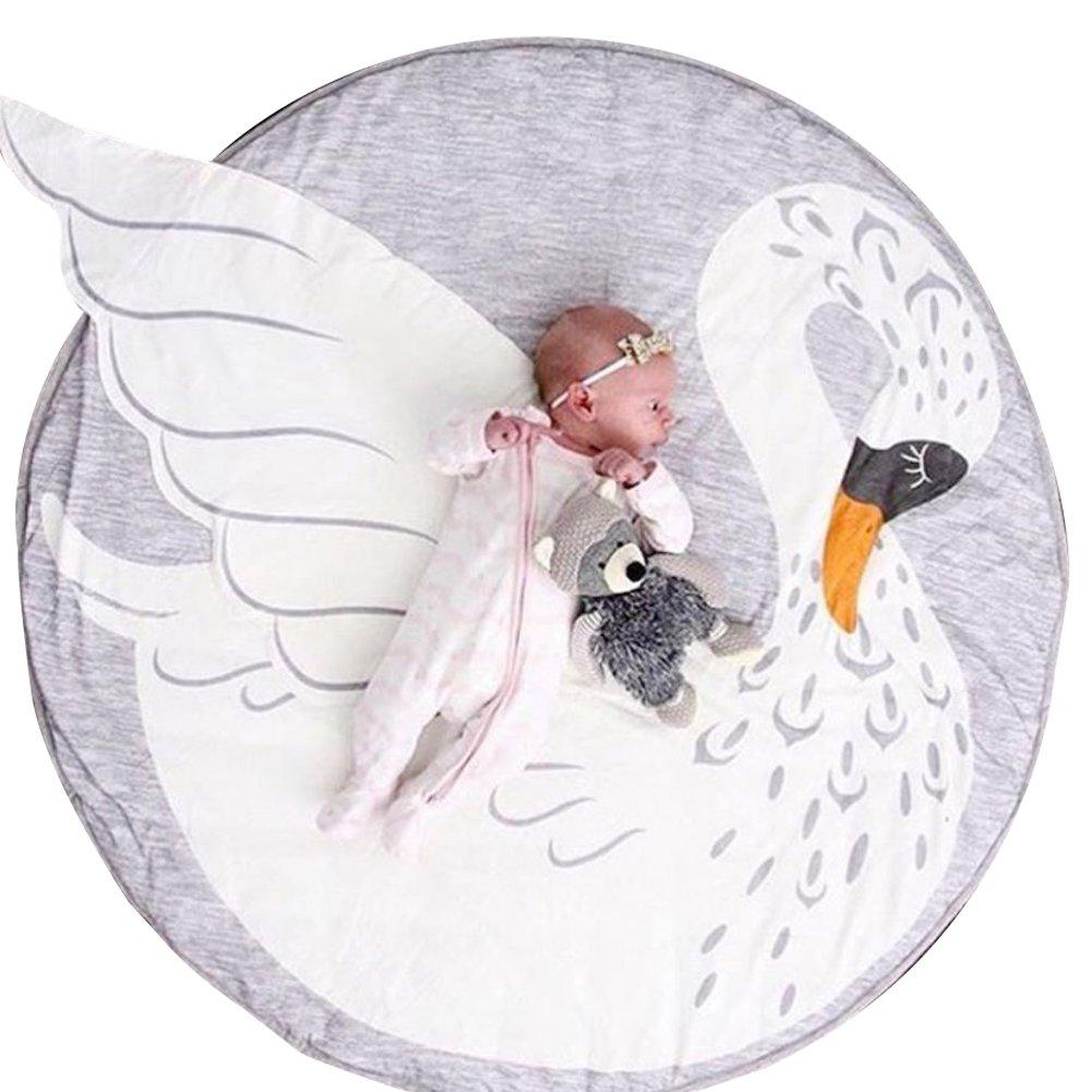 Fyore Kuschelige Hase Rund Krabbeldecke Gepolstert Spielmatte Groß Baumwolle Kinderteppich Babyzimmer Dekoration 90cm (Grau)