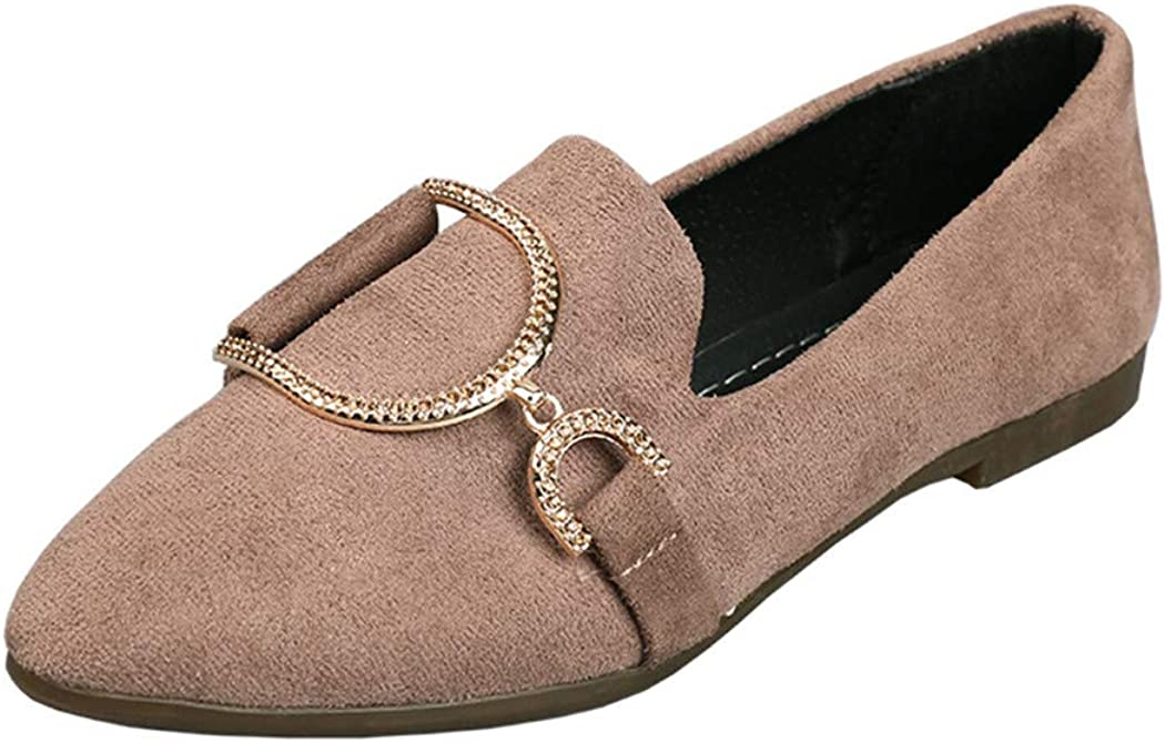 Zhaoguan Women Flats Pointed Toe Slip on Flat Shoes Faux Suede Boat Shoes Woman Loafer Shoes