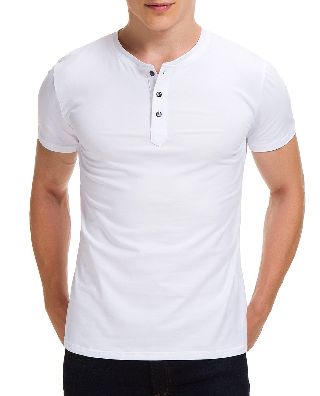 0e655be8 Boisouey Men's Casual Slim Fit Short Sleeve Henley T-Shirts Cotton Shirts  White L