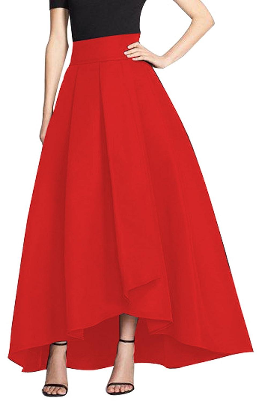 CoutureBridal Femme Jupe Longue Elégante Jupe Vintage Haille Haute pour Soirée Satin