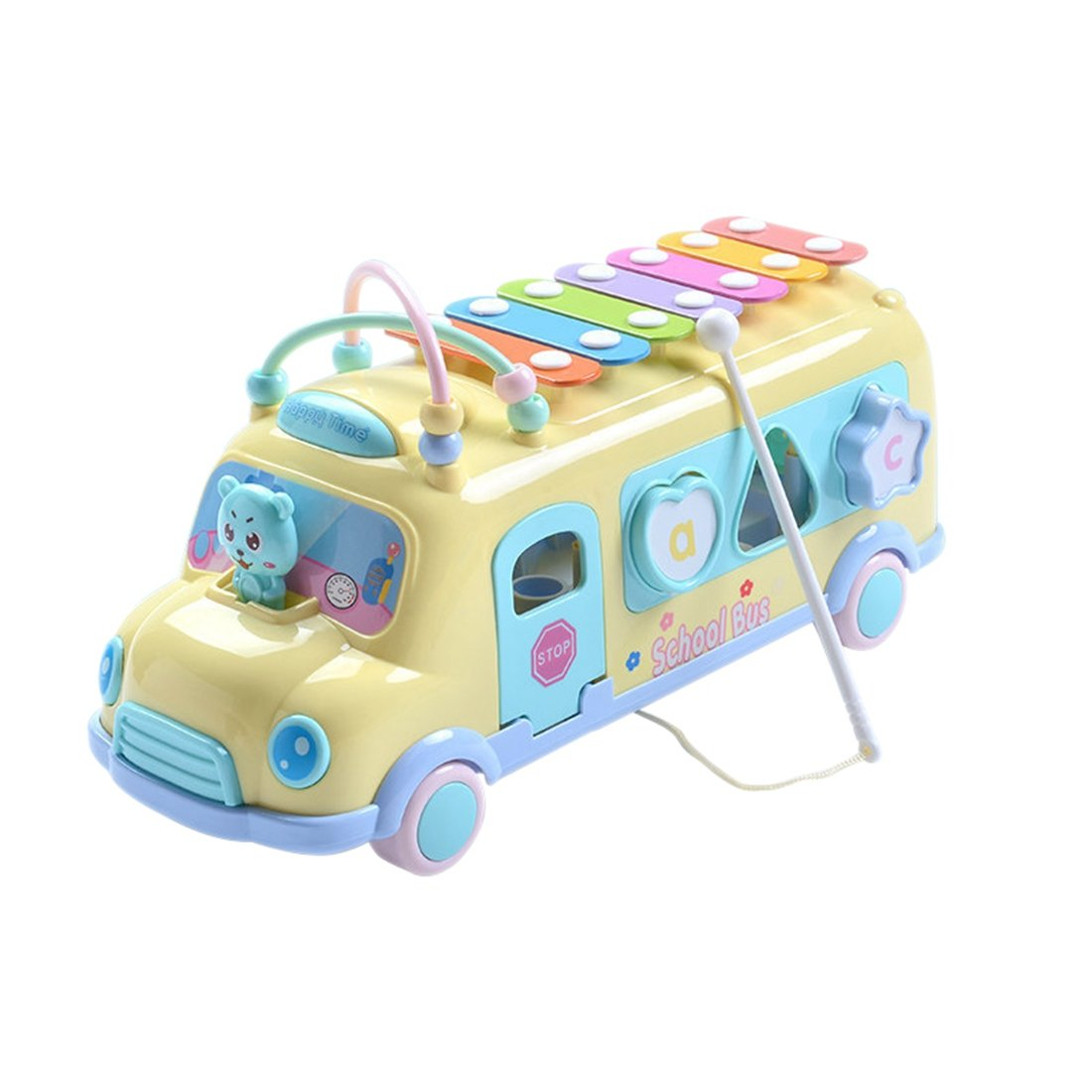 SODIAL Yellow Baby Child Pop Music Puzzle Multifunction Bus Block Knock Hammer Music Baby Musical Instrument Toys