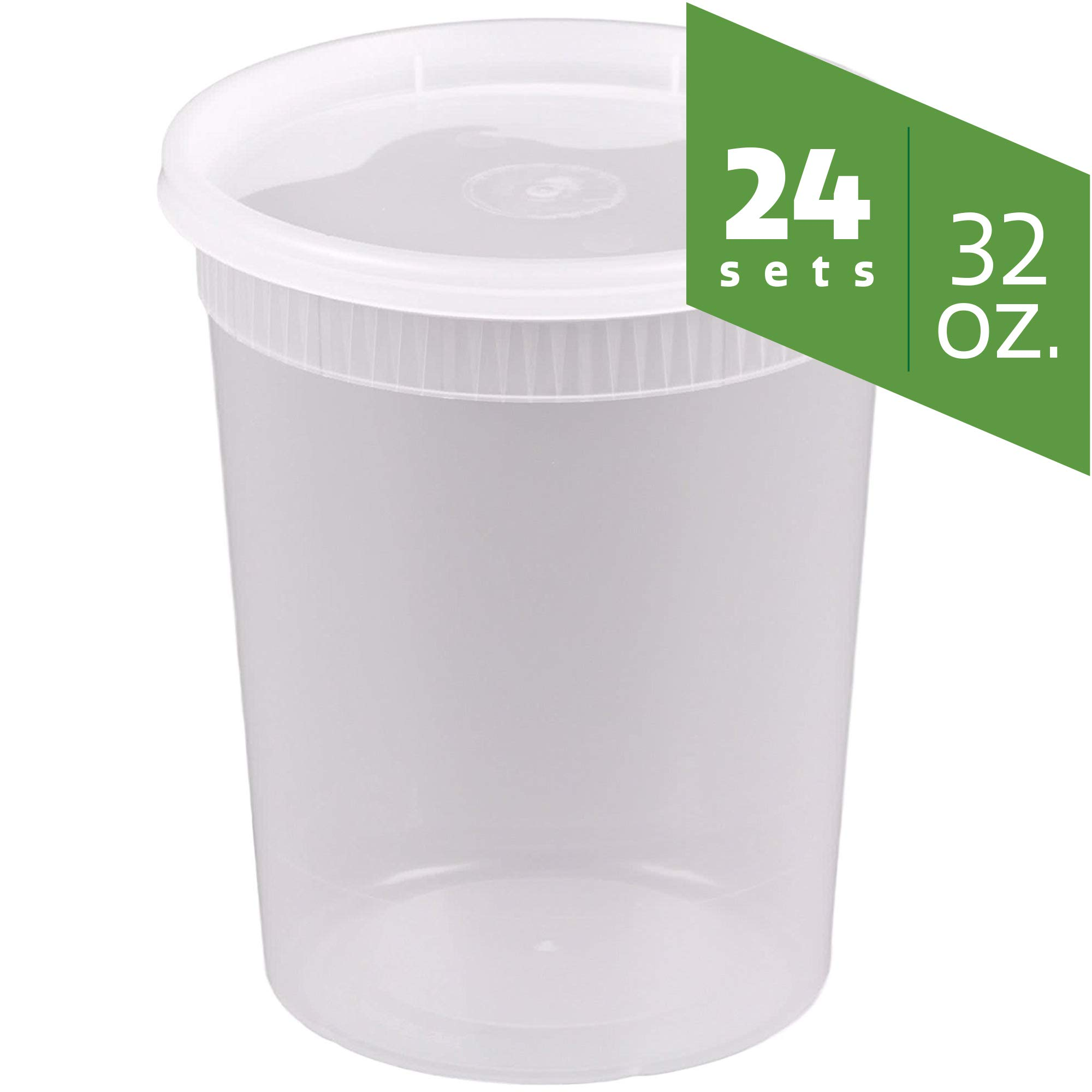 Plastic Deli Food Storage Containers with Airtight Lids (32 oz. - 24 Sets) by Comfy Package