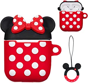 Airpods 1&2 Charging Case Cover | Cute Cartoon Airpods Case | Silicone AirPod Cover with Keychain | Cute Earbud Case Airpods for Kids Teens Girls Boys