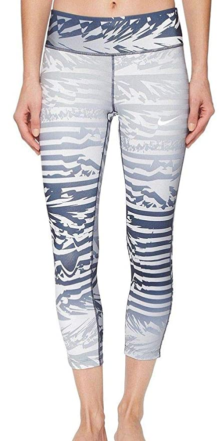 b30a2eb39310a Nike Women's Power Essential Printed Running Crop Pants Tights Grey White  Navy Blue 872810 043 Size