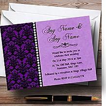 Purple Black Damask & Diamond Personalized Wedding Invitations