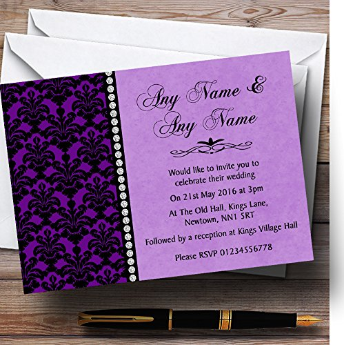 Purple Black Damask & Diamond Personalized Wedding (Damask Wedding Invitations)