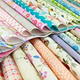 flic-flac Quilting Fabric Squares 100% Cotton Precut Quilt Sewing Floral Fabrics for Craft DIY (12 x 12 inches, 60pcs)