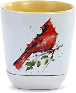 Spring Cardinal Watercolor 10 ounce Stoneware Tea Cup and Trinket Dish Set
