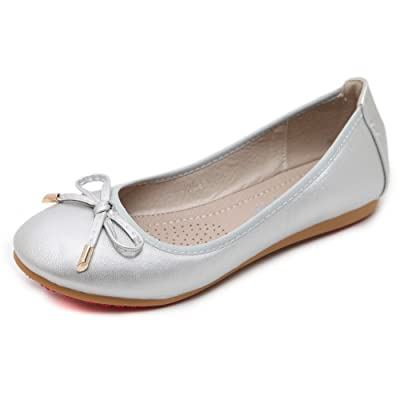 AdeeSu Womens Bows Low-Cut Uppers Round-Toe Urethane Ballet Flats