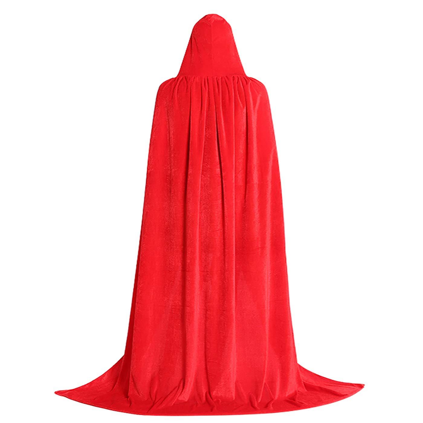 Festar Halloween Witch Costume Velvet Hooded Cloak Full Length Witch Cape for Women, Men 3CL22N