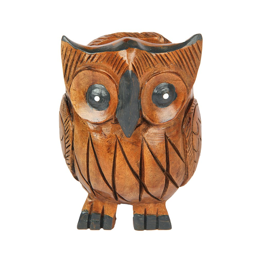 Handmade Wooden Pen Pencil Holder Owl Shape Carved Display Stand for Office Desk Home Decorative - Aheli