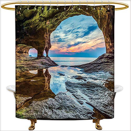 urtain Spa Rock Shelter with Lake Magical Up on The Sea Mediterranean Wonders Wet Photo Blue Cream. Waterproof and Anti-Mold Polyester Bathtub with 12 Hooks.W36 x H72 Inch ()