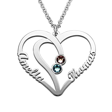55bb9e4a4092 Amazon.com: STARATION 925 Sterling Silver 2 Personalized Name Heart  Necklace Custom Pendant with Two Birthstones Gift for Couple Girlfriend:  Jewelry