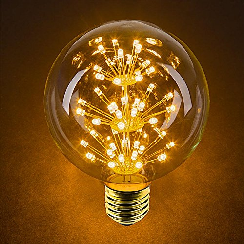 15w G30 Globe (LED Fireworks Bulb - G30 Decorative Fireworks LED Bulb - 15 Watt Equivalent - Dimmable - 125 Lumens - Warm White)